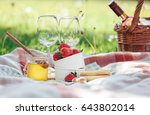 two wine goblets  fresh... | Shutterstock . vector #643802014