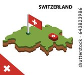 isometric map and flag of... | Shutterstock .eps vector #643823986