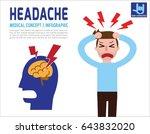 man a headache. migraine....   Shutterstock .eps vector #643832020