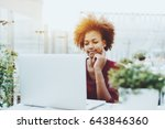young mixed female freelancer... | Shutterstock . vector #643846360