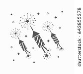 abstract black rocket fireworks ... | Shutterstock .eps vector #643855378