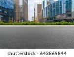 empty asphalt road front of... | Shutterstock . vector #643869844