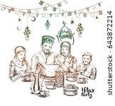happy muslim family ramadan... | Shutterstock .eps vector #643872214