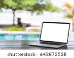laptop computer on table white... | Shutterstock . vector #643872538
