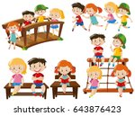 children doing different... | Shutterstock .eps vector #643876423