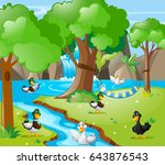 many ducks in the forest... | Shutterstock .eps vector #643876543