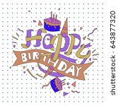 happy birthday typography... | Shutterstock .eps vector #643877320