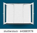 triple leaf open window with...   Shutterstock .eps vector #643885978