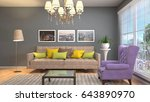 interior living room. 3d... | Shutterstock . vector #643890970