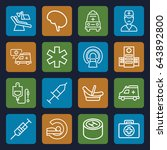 clinic icons set. set of 16... | Shutterstock .eps vector #643892800