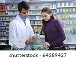 pharmacist advising client at... | Shutterstock . vector #64389427