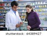 pharmacist advising client at...   Shutterstock . vector #64389427