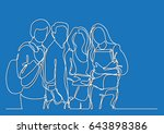standing students   continuous... | Shutterstock .eps vector #643898386