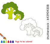 green broccoli to be colored ... | Shutterstock .eps vector #643904308
