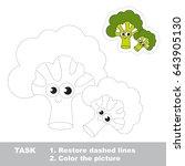 cute green broccoli. dot to dot ... | Shutterstock .eps vector #643905130