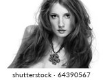 Fashion a portrait of the young beautiful woman - stock photo