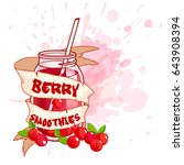 cocktail jar with a cranberry... | Shutterstock .eps vector #643908394