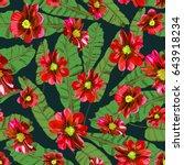 floral seamless pattern.... | Shutterstock .eps vector #643918234