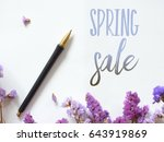 spring sale poster design with... | Shutterstock . vector #643919869