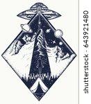 ufo tattoo art and t shirt... | Shutterstock .eps vector #643921480