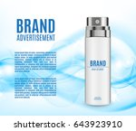 cosmetic ads template. spray... | Shutterstock .eps vector #643923910