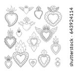 sacred mexican heart set | Shutterstock .eps vector #643924114