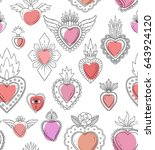sacred mexican heart seamless... | Shutterstock .eps vector #643924120