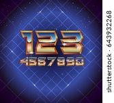 80s retro futuristic numbers.... | Shutterstock .eps vector #643932268