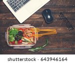 healthy business lunch at... | Shutterstock . vector #643946164