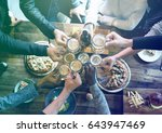 group of people celebrate party ... | Shutterstock . vector #643947469