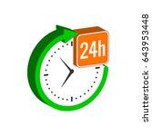 24 hours service symbol. flat...