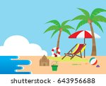 summer time in beach sea shore... | Shutterstock .eps vector #643956688