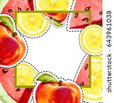 summer background with citrus ... | Shutterstock . vector #643961038