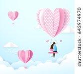 happy couple in love swings... | Shutterstock .eps vector #643974970