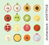 summer tropical fruits in...   Shutterstock .eps vector #643975918
