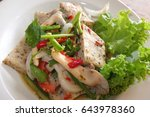 white pork sausage spicy salad  ... | Shutterstock . vector #643978360