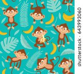 seamless pattern with monkey on ... | Shutterstock .eps vector #643993060