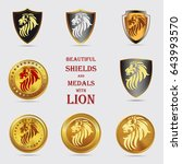 set of shields with lion.... | Shutterstock .eps vector #643993570