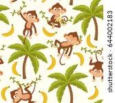 Seamless Pattern With Monkey O...