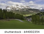 view of cortina d ampezzo and... | Shutterstock . vector #644002354