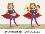 super hero  super mom. happy...   Shutterstock .eps vector #644003188