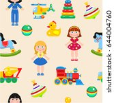 baby toys seamless pattern.... | Shutterstock .eps vector #644004760