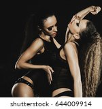 fashion shoot of two young sexy ... | Shutterstock . vector #644009914