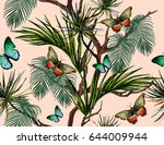 Stock vector  seamless vector tropical summer pattern background with butterflies an palm leaves 644009944