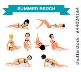 set of young women in bikini... | Shutterstock .eps vector #644024164