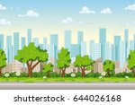seamless cartoon city... | Shutterstock .eps vector #644026168