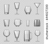 transparent empty glasses and... | Shutterstock .eps vector #644027200