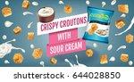 crispy croutons ads. vector... | Shutterstock .eps vector #644028850