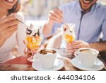 romantic couple drinking coffee ... | Shutterstock . vector #644034106