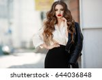 fashion long hair woman with... | Shutterstock . vector #644036848
